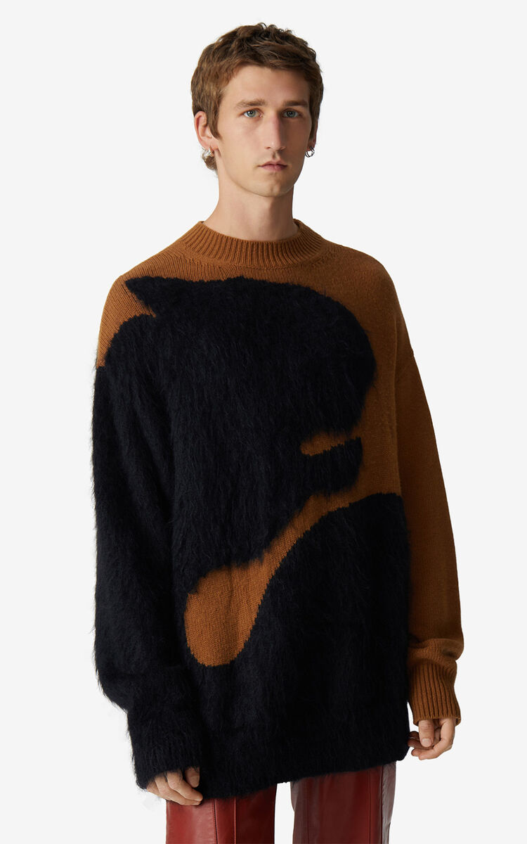 DARK CAMEL Jumper with Júlio Pomar illustration for women KENZO