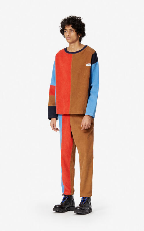 DARK BEIGE Corduroy colourblock jumper for men KENZO