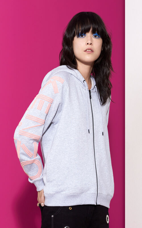 PEARL GREY KENZO Logo Zipped Hoodie for women