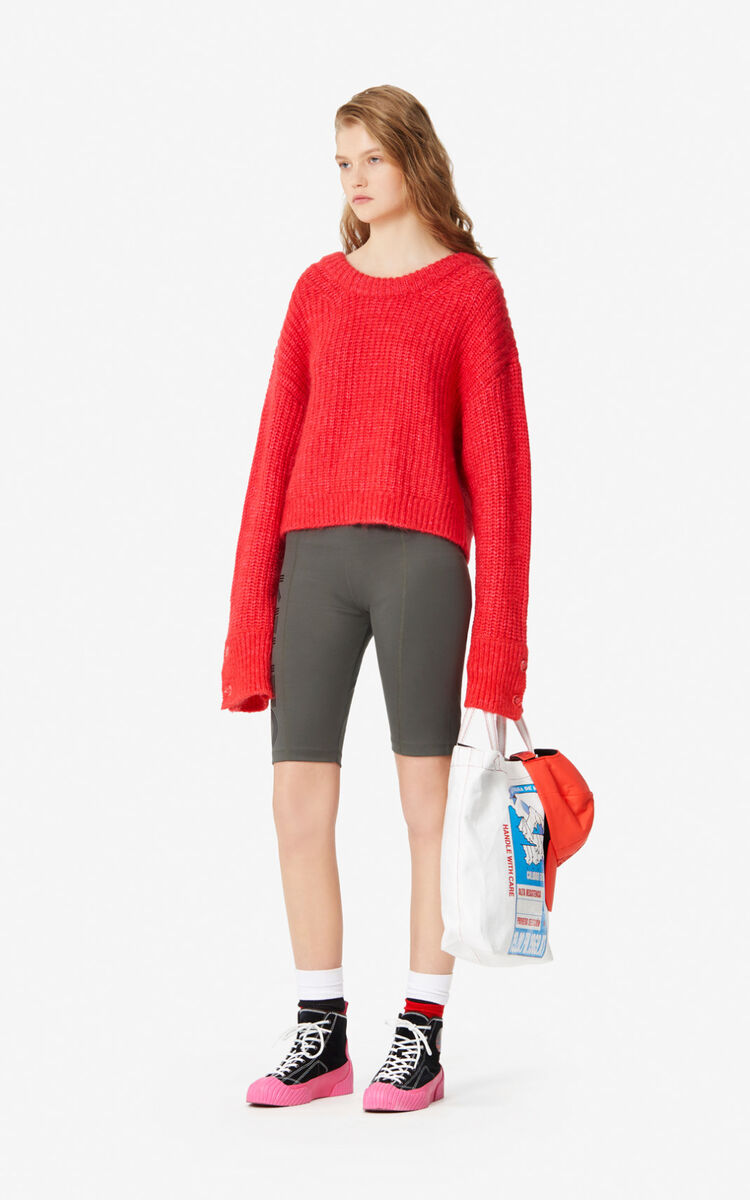 MEDIUM RED Fringed cropped jumper for women KENZO