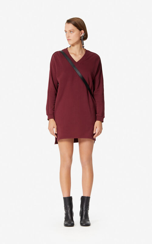 BORDEAUX KENZO logo sweatshirt dress for women