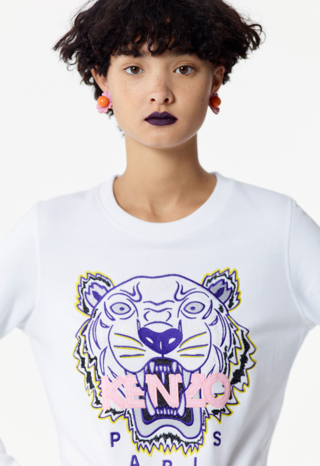 WHITE Embroidered Tiger sweatshirt for women KENZO