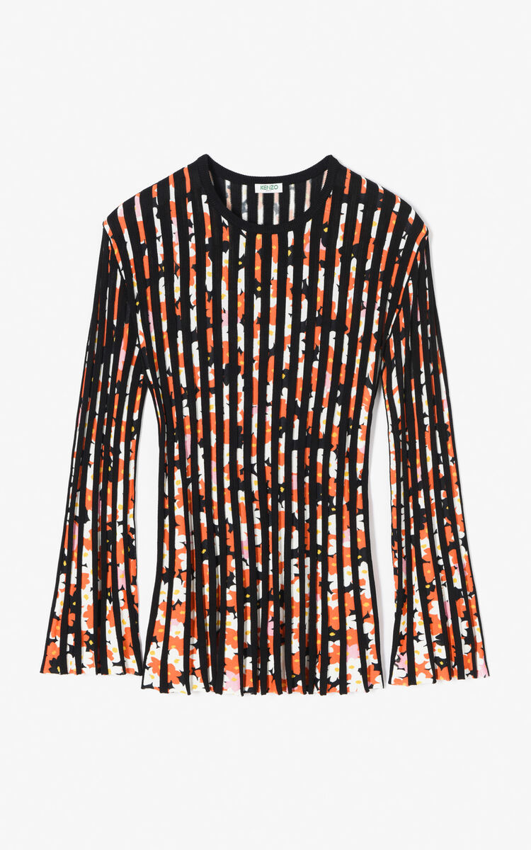 BLACK Pleated 'Jackie Flowers' top for women KENZO