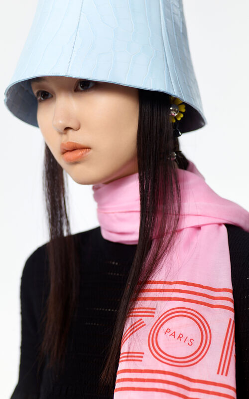 FLAMINGO PINK KENZO logo cotton scarf for unisex