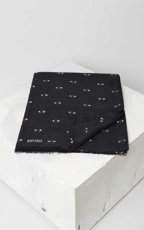 BLACK Multi Eyes Scarf for unisex KENZO