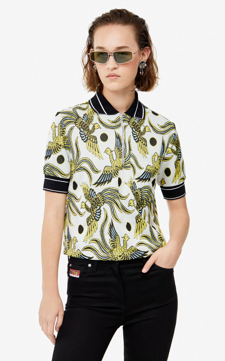 WHITE Boxy 'Flying Phoenix' polo shirt for women KENZO
