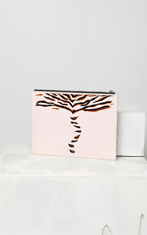 FADED PINK 'Crawling Tiger' A4 clutch for unisex KENZO