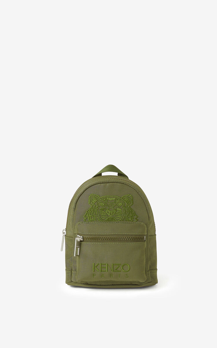 KHAKI Mini canvas Kampus Tiger backpack  for unisex KENZO