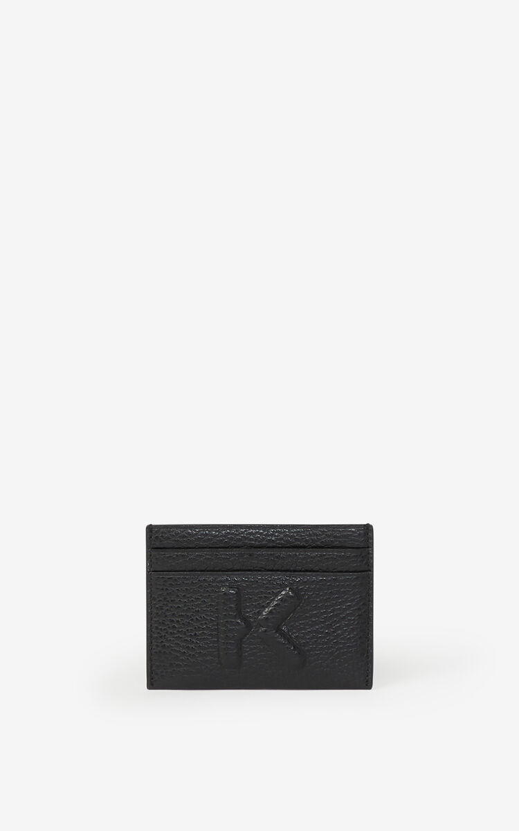 BLACK KENZO Imprint grained leather cardholder for unisex