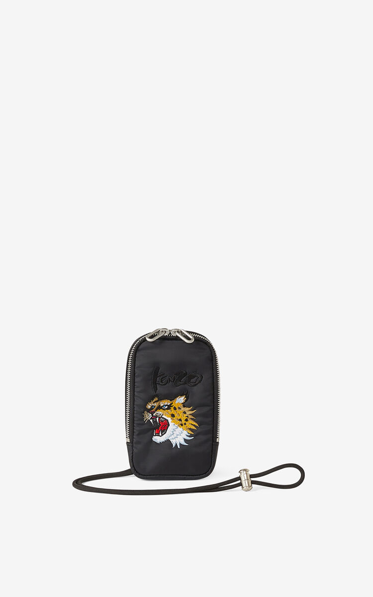 BLACK KENZO x KANSAIYAMAMOTO phone pouch with strap for unisex