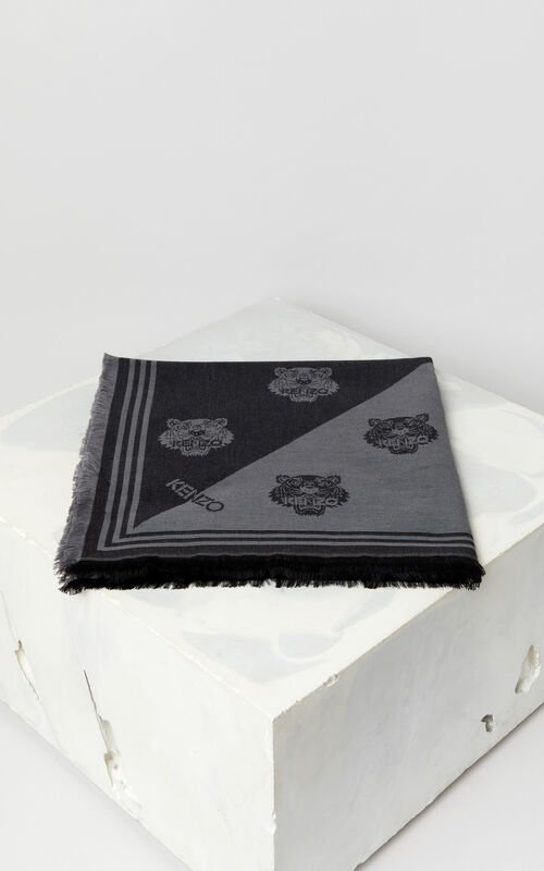 BLACK Large two-tone Tiger scarf for women KENZO