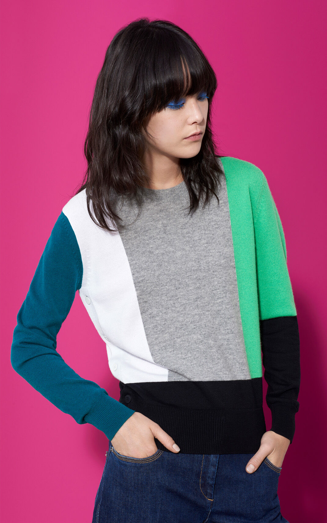 Color-Block Cashmere Sweater for Kenzo | Kenzo.com