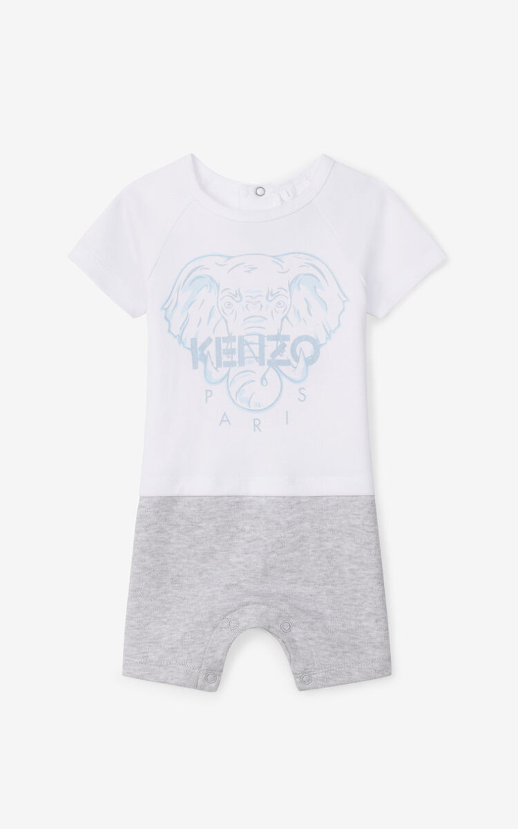PEARL GREY Tiger Friends playsuit for unisex KENZO