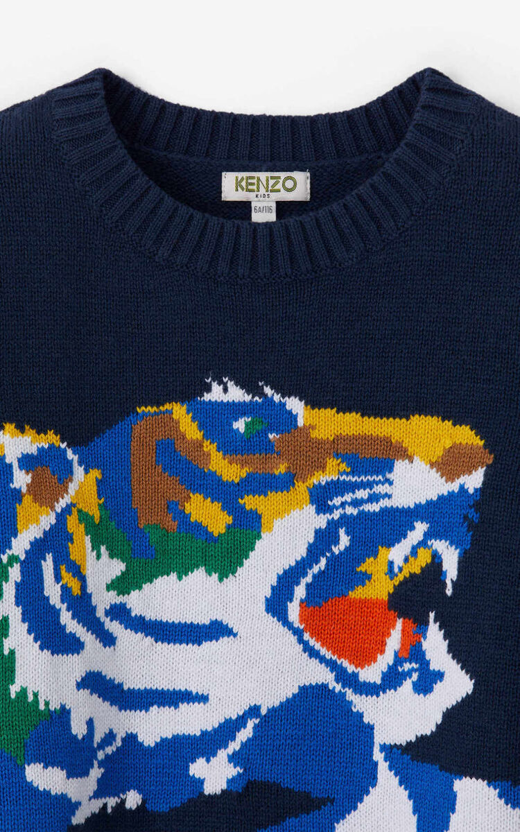 NAVY BLUE 'Ventura' Tiger Sweater for men KENZO