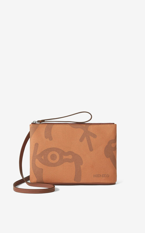 COGNAC KENZO Arc crossbody bag with gusset for unisex