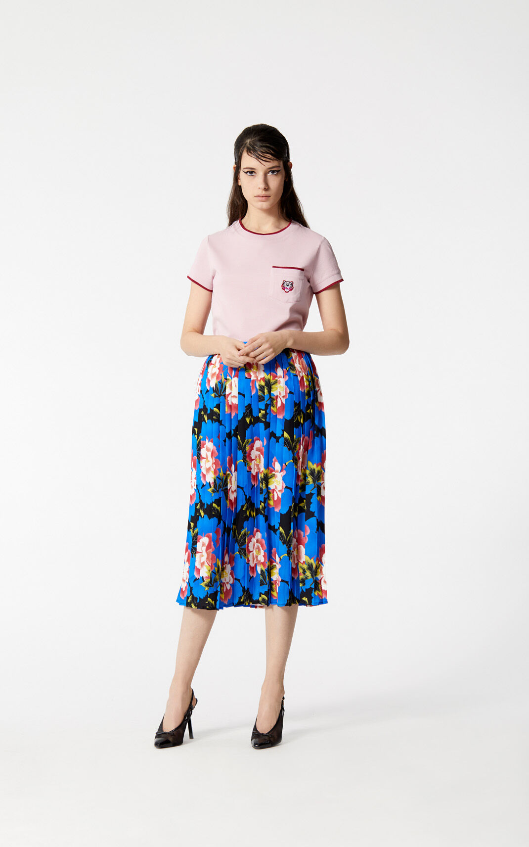 BLACK Pleated 'Indonesian Flower' skirt for women KENZO