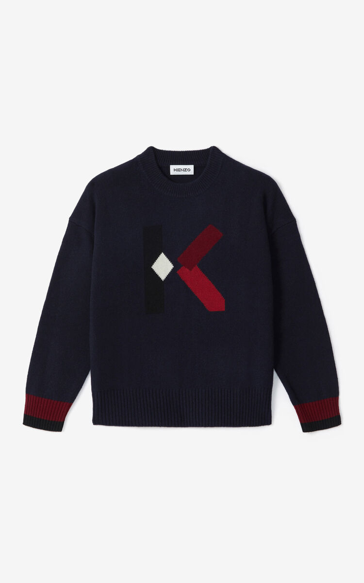 NAVY BLUE K Logo jumper for women KENZO