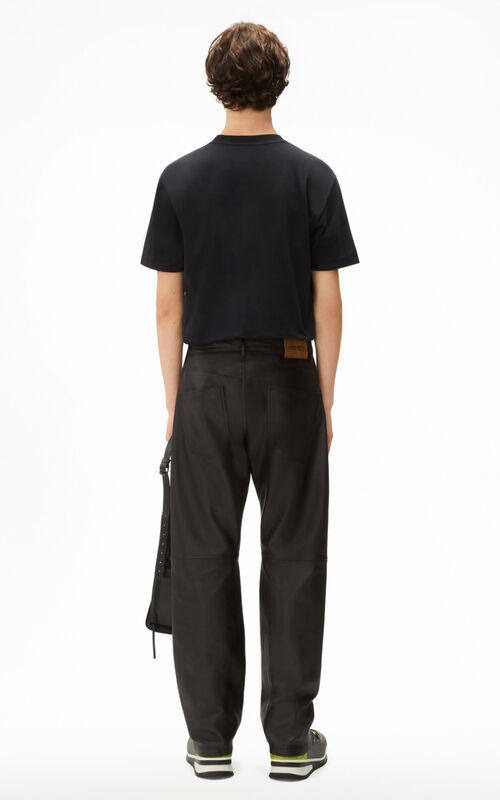 BLACK Flared leather trousers for men KENZO