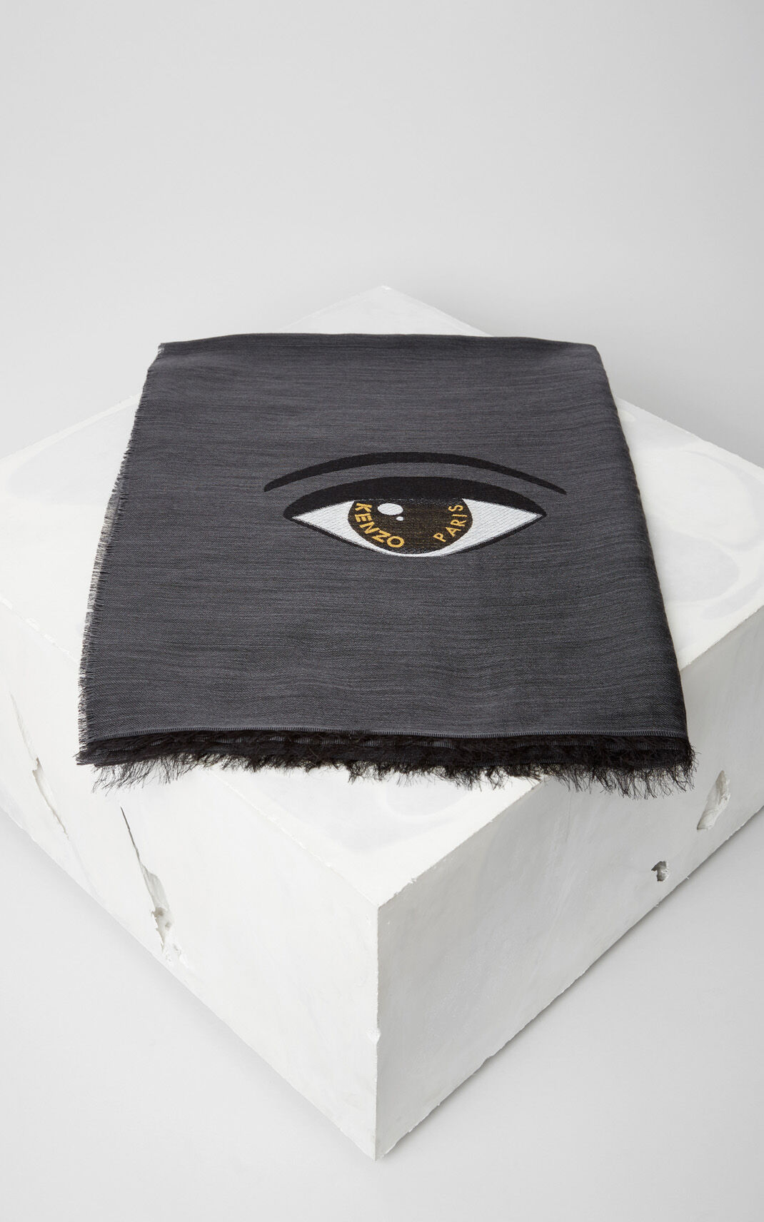 ANTHRACITE Eye x KENZO World Wool and Modal Scarf for unisex