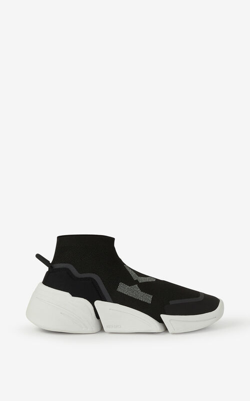 BLACK K-Sock K Logo laceless trainers for unisex KENZO