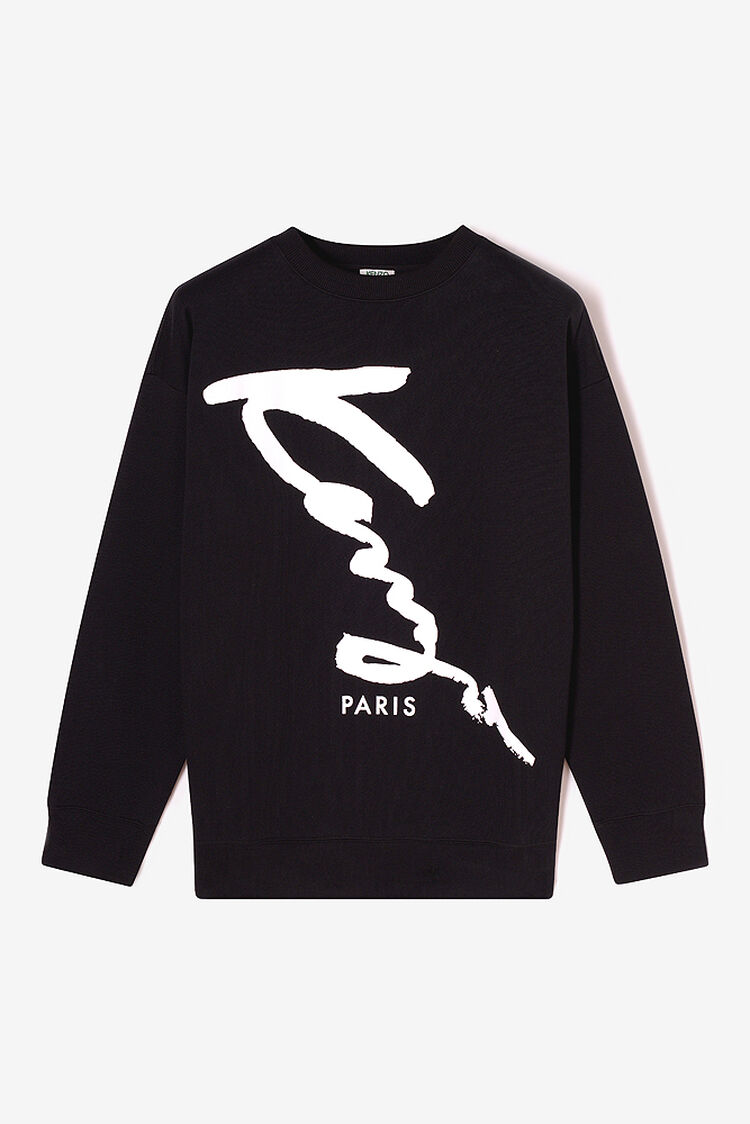 BLACK KENZO Signature Oversized sweatshirt for men