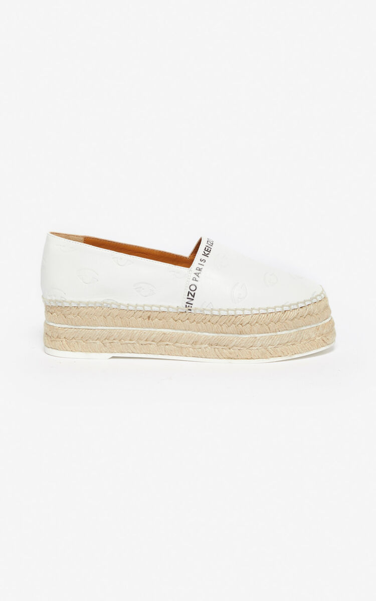 WHITE Multi Eye platform espadrilles for unisex KENZO