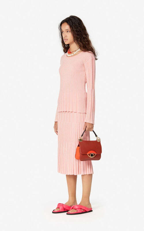 FLAMINGO PINK Pleated midi skirt for women KENZO