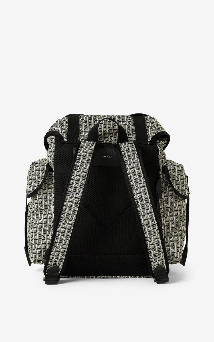 MISTY GREY Courier jacquard backpack with flap for unisex KENZO