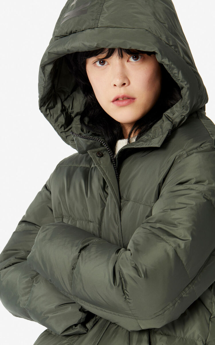 DARK KHAKI Long quilted 'Capsule Expedition' puffer jacket for women KENZO