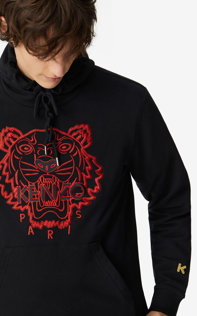 BLACK 'Chinese New Year Capsule' Tiger hooded sweatshirt for men KENZO