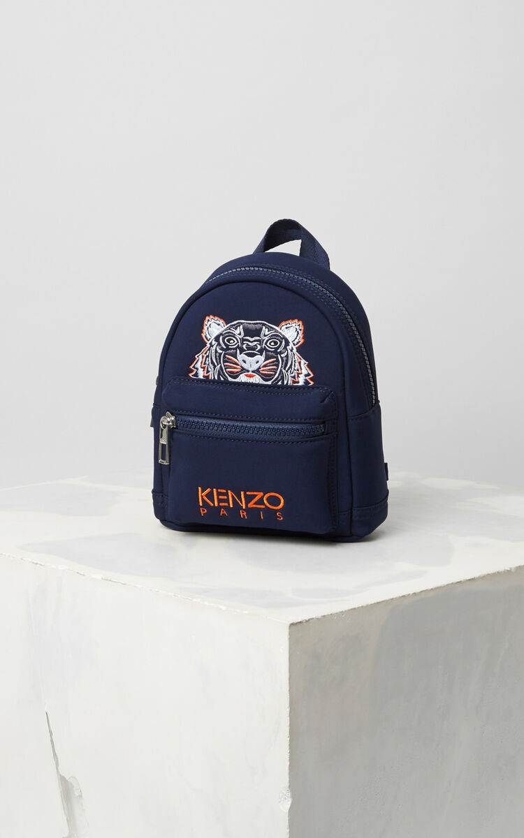 NAVY BLUE Mini Neoprene Tiger Backpack for unisex KENZO