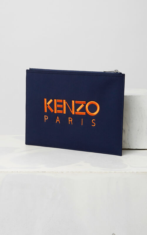 NAVY BLUE Neoprene Tiger Clutch for unisex KENZO