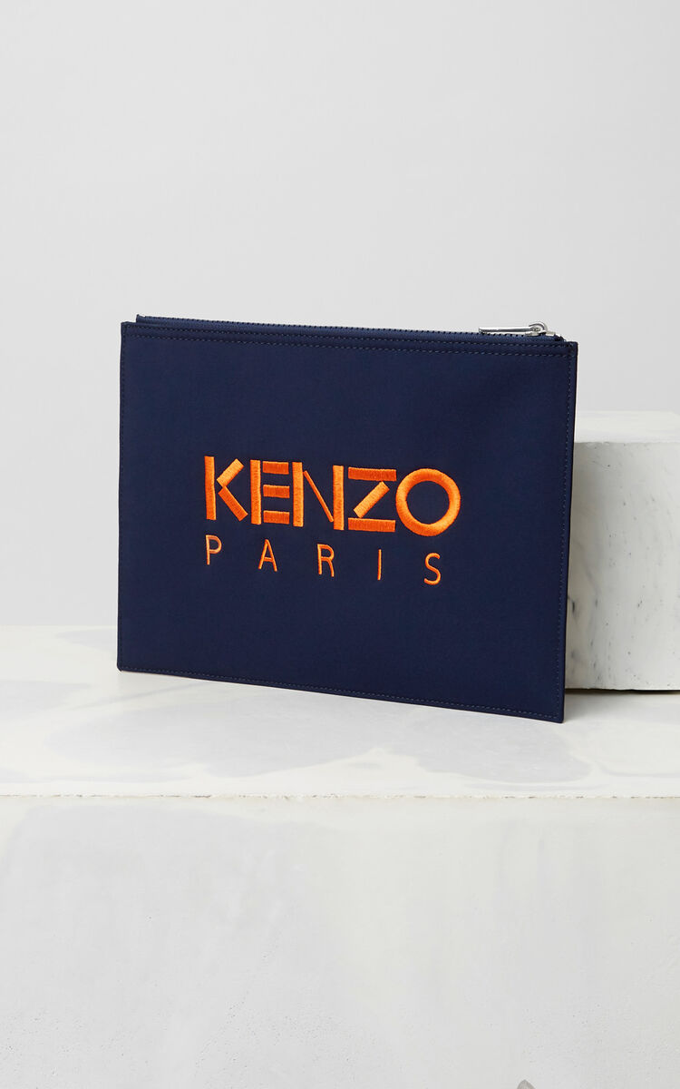 NAVY BLUE Tiger clutch in neoprene for unisex KENZO
