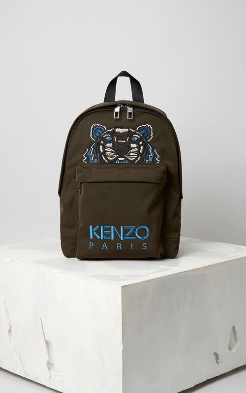 Medium Tiger Canvas Backpack, DARK KHAKI, KENZO