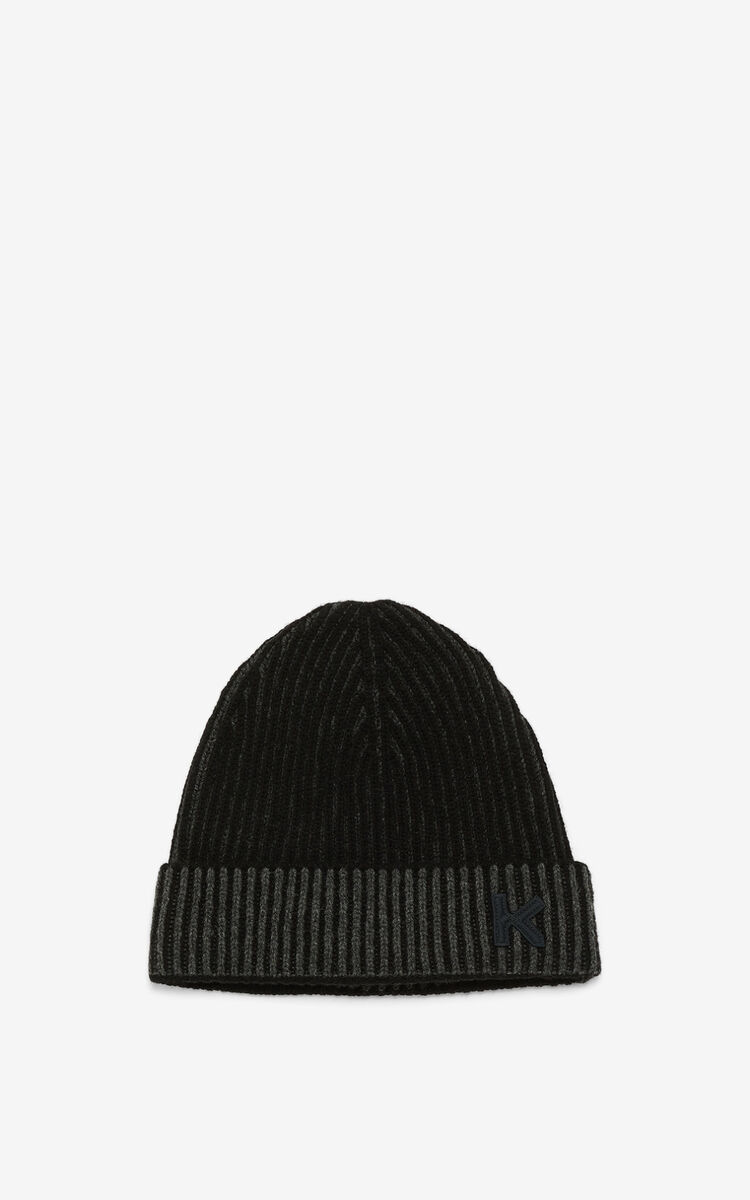 STONE GREY K Logo rib knit beanie for unisex KENZO