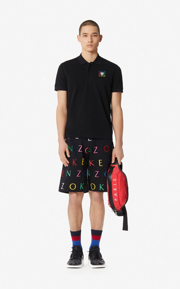 BLACK Fitted 'Tiger Square' polo shirt for men KENZO