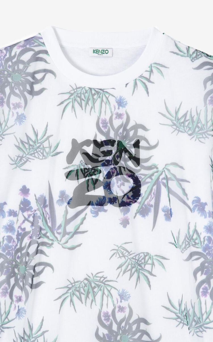 WHITE 'Sea Lily' dual-material dress for women KENZO