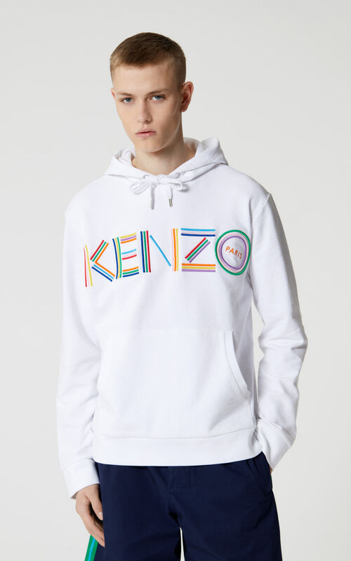 WHITE KENZO Logo hooded sweatshirt for men
