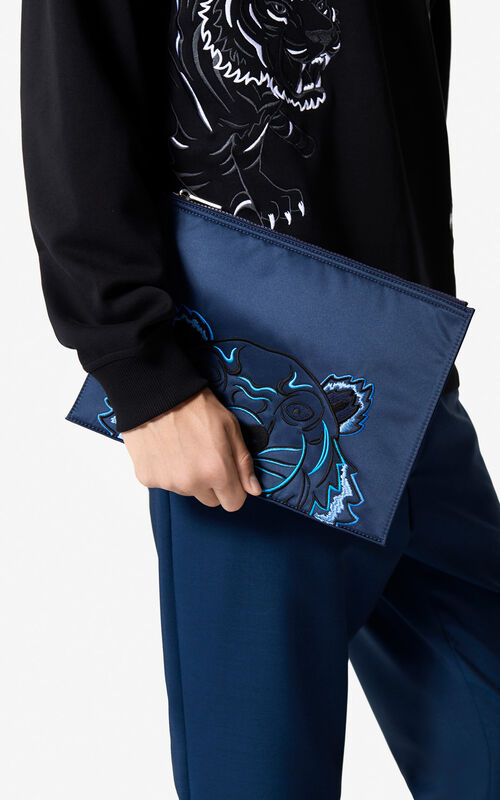 MIDNIGHT BLUE Satin A4 clutch 'Holiday Capsule' for unisex KENZO