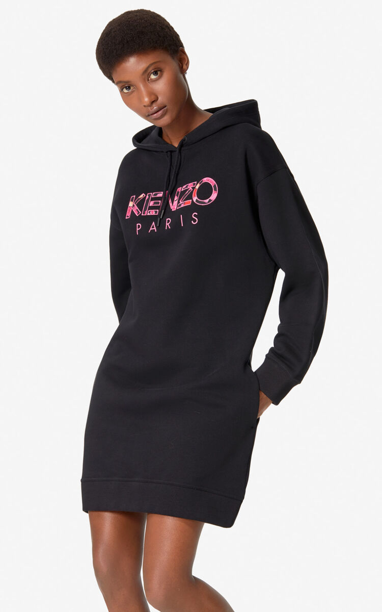 BLACK KENZO Paris 'Peony' sweatshirt dress for women