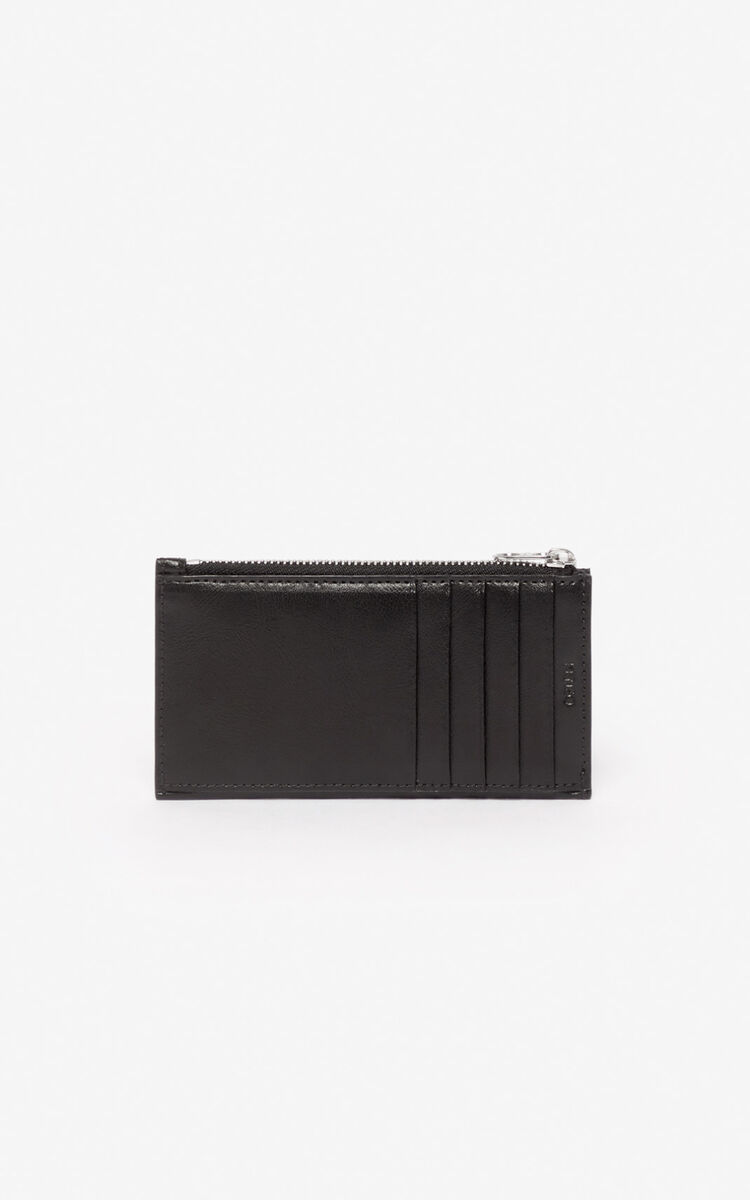 BLACK 'Kung Fu Rat' zipped card case for men KENZO