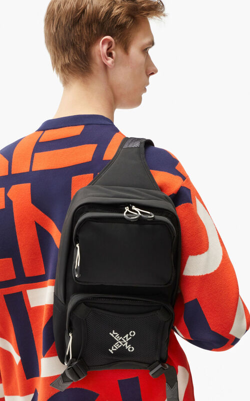 BLACK KENZO Sport backpack with strap  for women