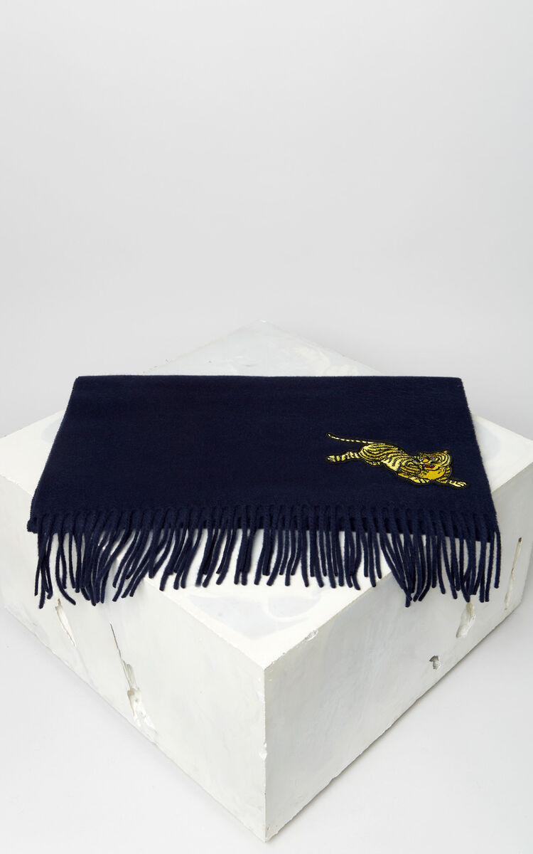NAVY BLUE 'Jumping Tiger' wool scarf for unisex KENZO