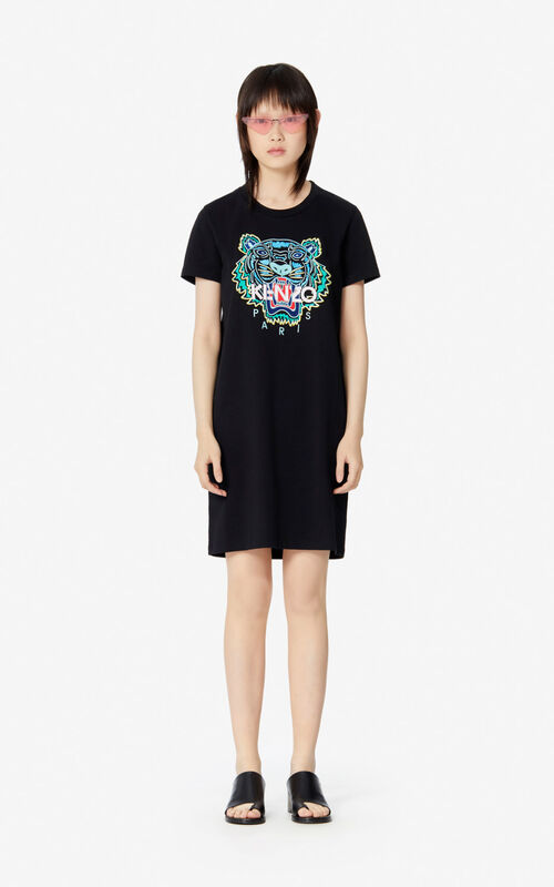 BLACK Tiger t-shirt dress for women KENZO