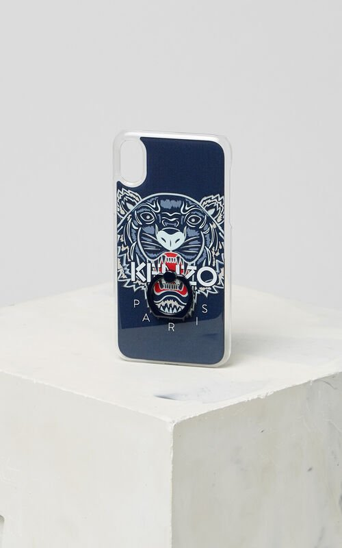 NAVY BLUE 3D Tiger iPhone X case with ring for unisex KENZO