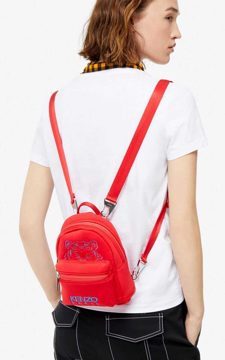 MEDIUM RED Mini Neoprene Tiger Backpack for men KENZO