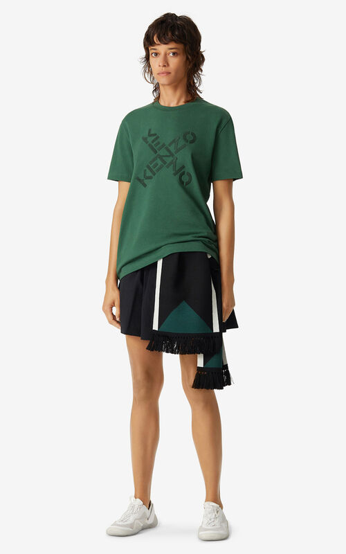 GREEN KENZO Sport 'Big X' T-shirt for women