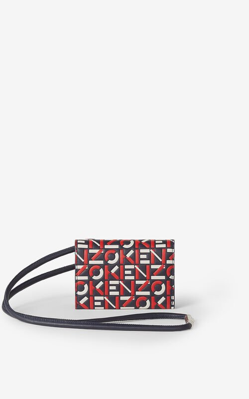 MEDIUM RED Monogram leather card holder with strap for unisex KENZO