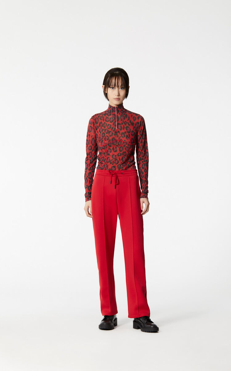 MEDIUM RED 'Leopard' turtleneck top for women KENZO