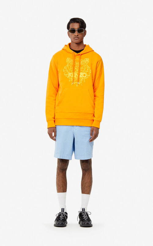 MEDIUM ORANGE Hoodie sweatshirt with neon Tiger for men KENZO